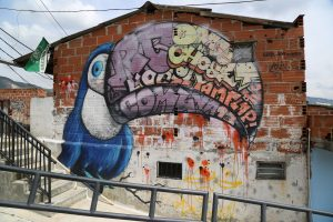 Grafitti of a bird in Comuna 13