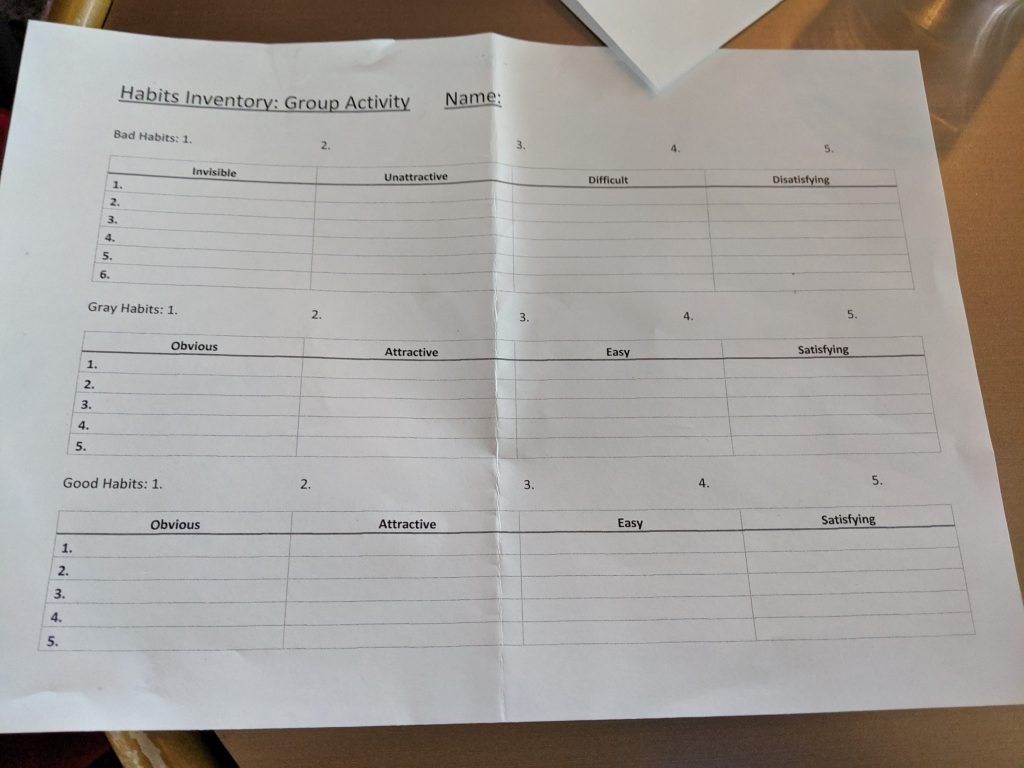 Nomad Cruise worksheet habits
